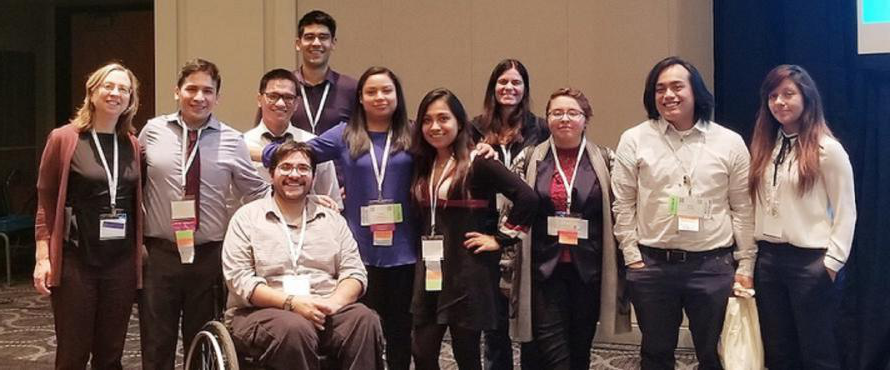 A group of NEIU students and faculty pose the SACNAS Annual Conference.