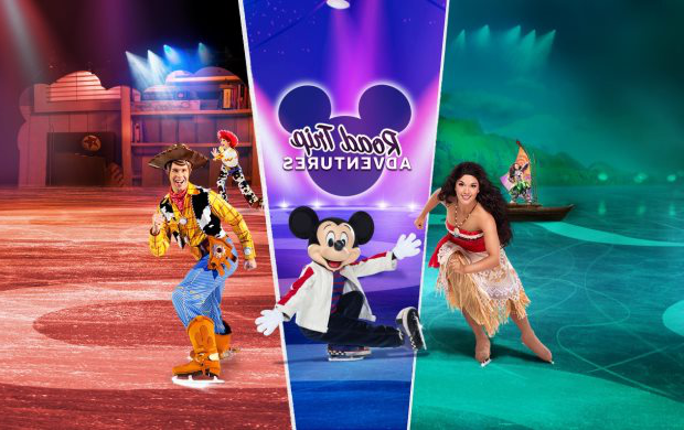 "Disney characters ice skating. Text over the top reads ""Road Trip Adventures."""
